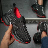 Women Rivet Fashion Cheetah Athletic Slip On Platform Sneakers