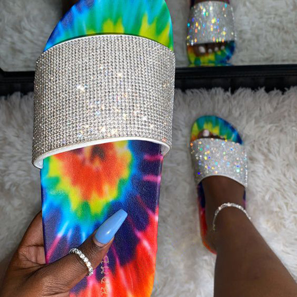 Women Rhinestones Multicolor Flat Heel Slippers