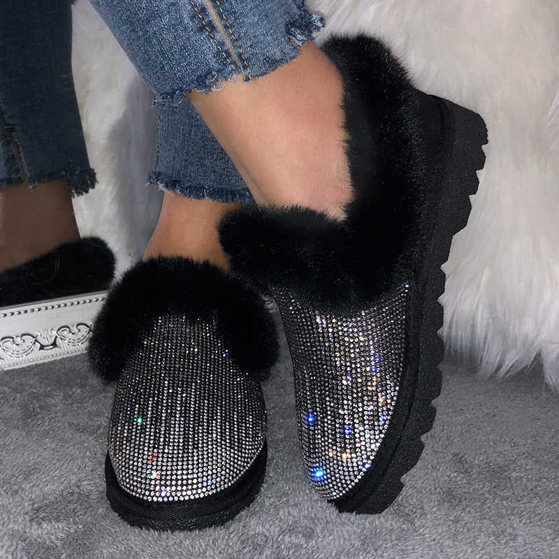 Women Puffy Artificial Suede Fur Split Joint Plush Rhinestone Bling Bling Slip On Platform Cotton Shoes Boots