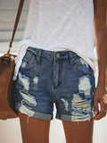 Casual Fashion Women Solid Ripped Straight Shorts