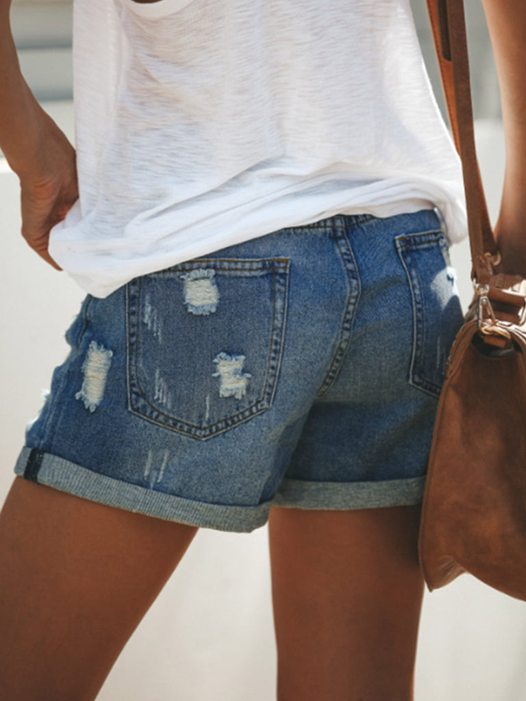 Women Casual Fashion Ripped Cotton Denim Shorts