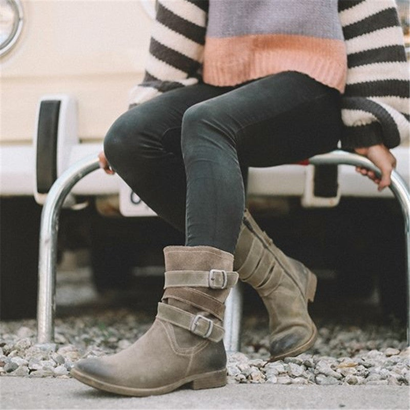 Women's Vintage Brushed Low Heel Booties