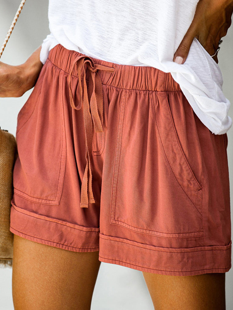 Women Solid Ruched Casual High Waist Shorts