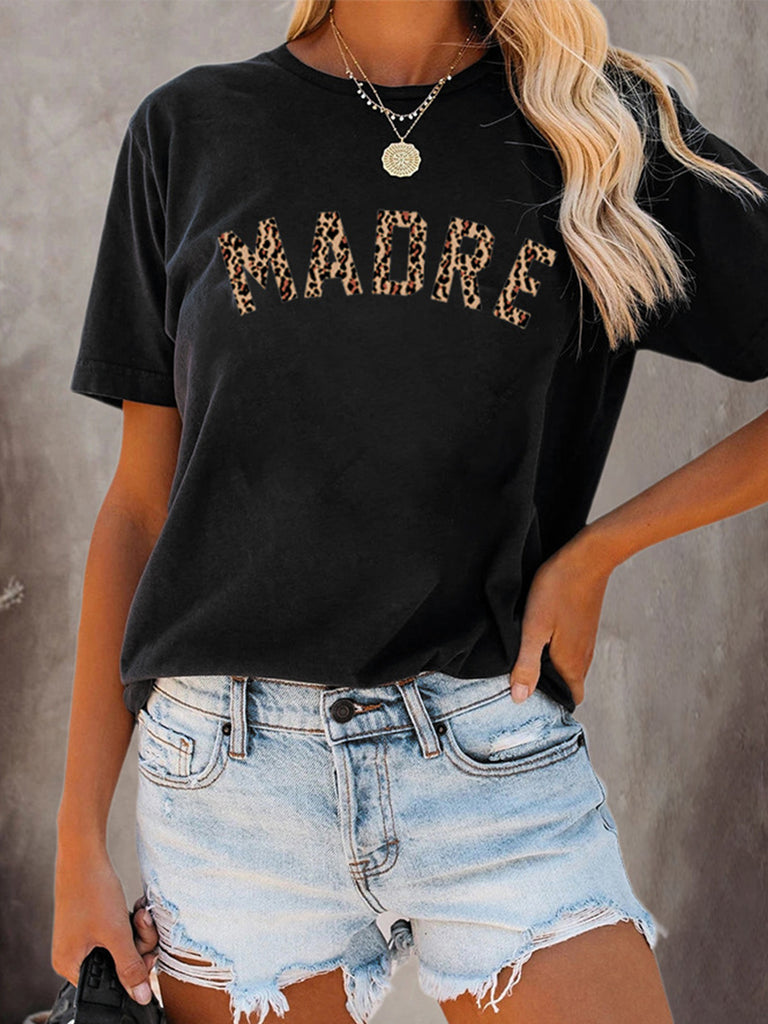 Leopard MADRE Letters Print Crew Neck Short Sleeve T-shirts