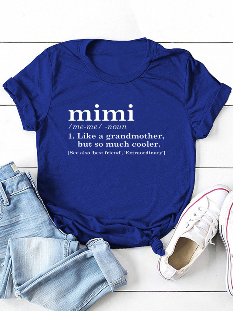 Women Simple Letter Print Crew Neck Fashion Short Sleeve T-Shirts