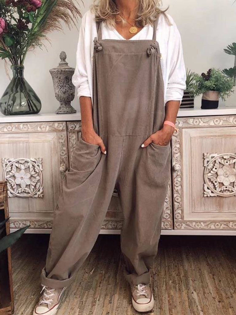 Women Solid Pockets Polyester Sleeveless Jumpsuits