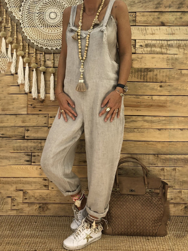 Solid Color Spaghetti Simple Women Jumpsuits