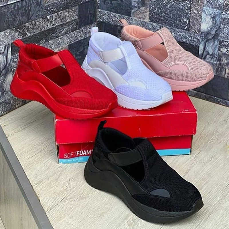 Women Gorgeous Hollow Out Mixed Colors Slip On Platform Sneakers
