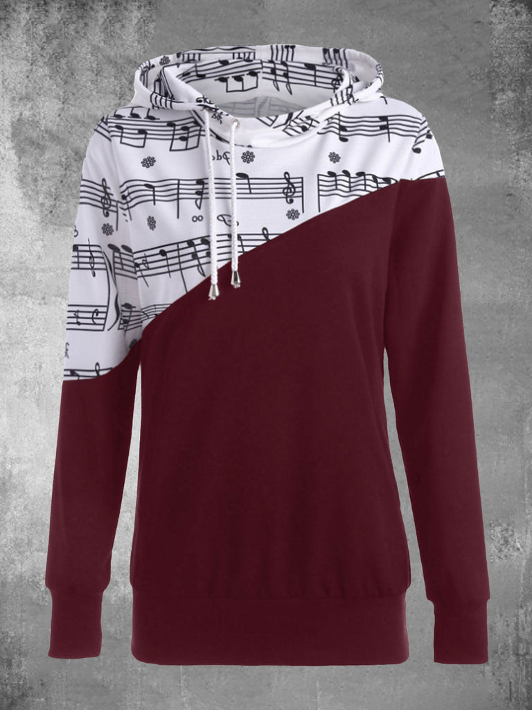 Musical Note Print Color-block Drawstring Women Hooded Sweatshirts