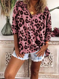 Leopard Print Long sleeve V neck Blouses
