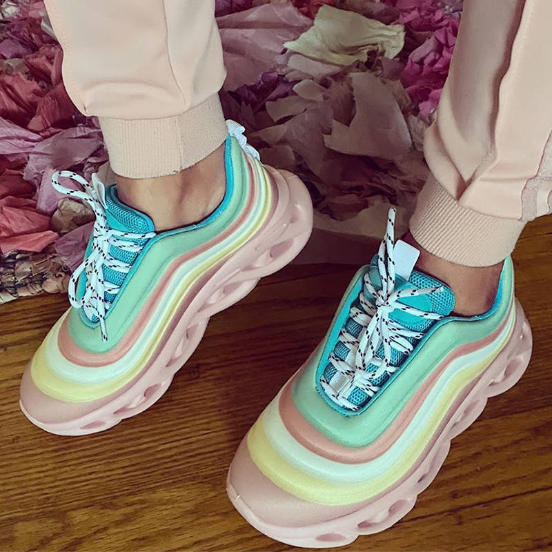 Women Gorgeous Rainbow Colorful Lace Up Platform Sneakers