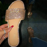 Women Simple Fashion Pu Sparkling Glitter Rhinestone Flat Slippers