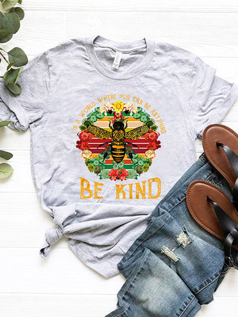 Women Bee Print Short Sleeve Crew Neck T-shirts