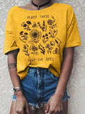 Women Floral Printed Short Sleeve Crew Neck T-shirts