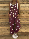 Daisy Printed Adjustable Strap Casual High Waist Jumpsuits