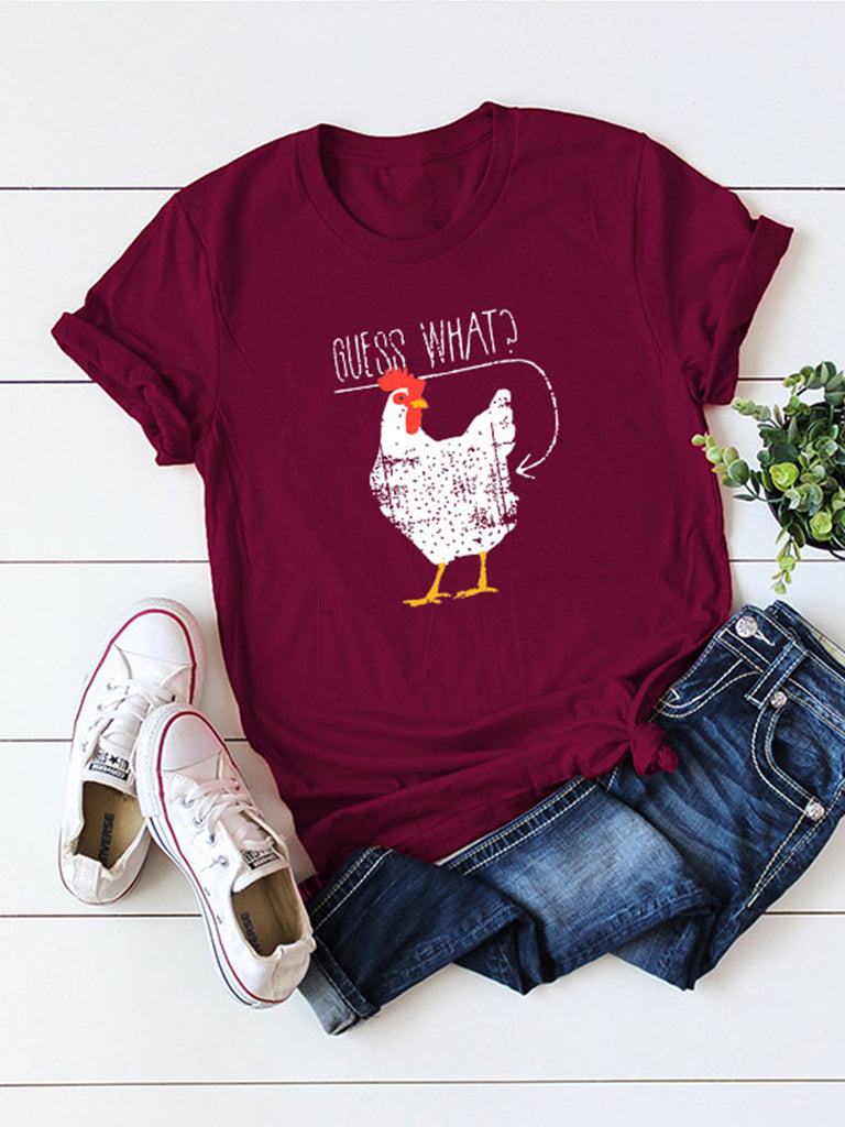 Summer Casual Cartoon Print Women's Short Sleeve T-shirts