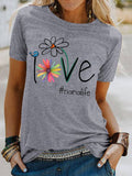 Women LOVE Letter Print Polyester Short Sleeve Crew Neck T-Shirts