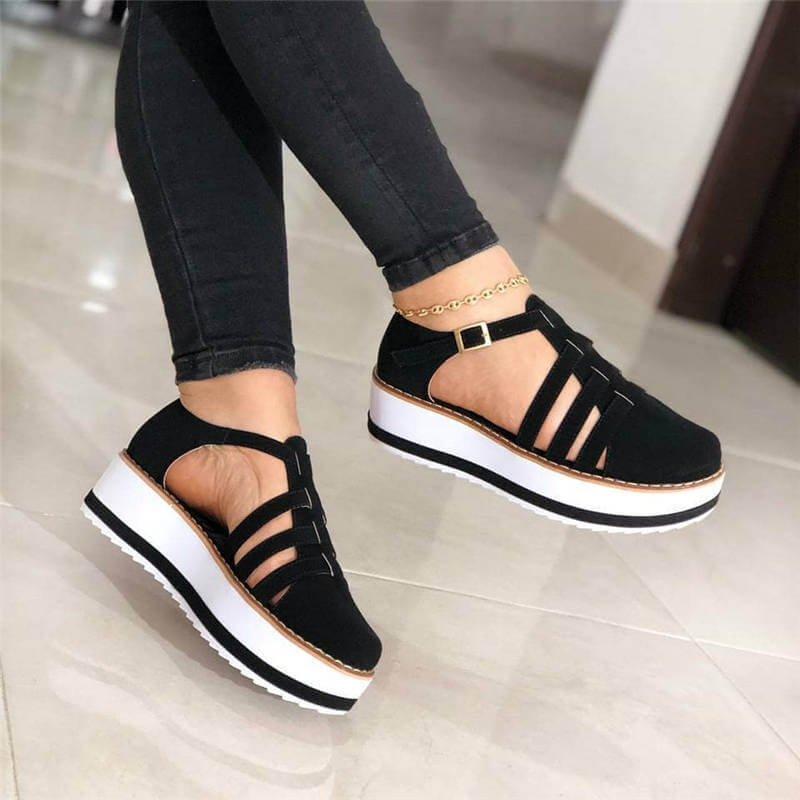 Women Hollow-out Buckle Strap Creepers Platform Sandals