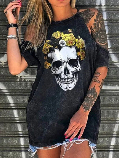 Woman Skull printed Cold Shoulder Street T-shirts