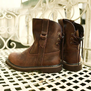 Women Fashion Vintage Flat Heel Lace-up Boots