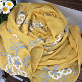 Women Ethnic Style Embroidery Flower Scarf
