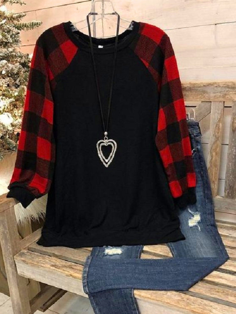 Women Polyester Crew Neck Plaid Print Long Sleeve T-shirts
