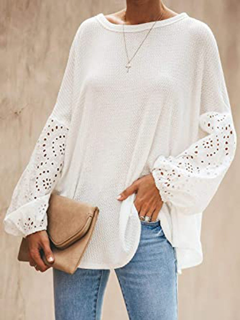 Women Solid Cutout Slash Neck Balloon Long Sleeve T-Shirts