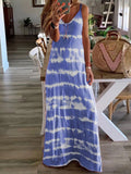 Tie-dyed Spaghetti V neck Summer Holiday Dresses