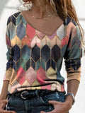 Women Long Sleeve Irregular Collar Retro Printed Casual T-shirts