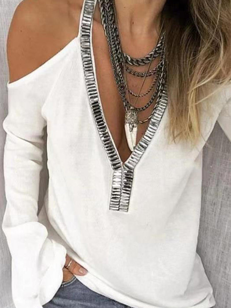 Women Solid Sequins Long Sleeve V Neck Tops