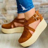 Women Casual Camfy Pu Pure Color Double Buckle Summer Platfoem Sandals