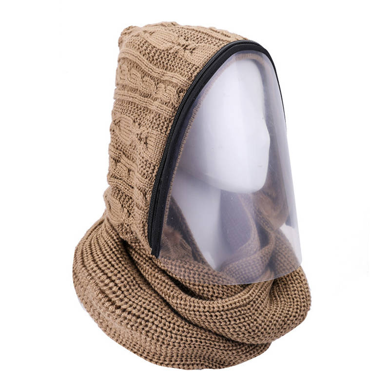 Removable Zipper Face Mask Knitted Bib Hooded Scarf