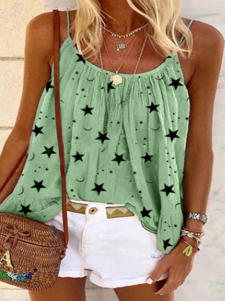 Women Printed Sleeveless Spaghetti T-shirts