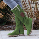 Women Solid Color Mid Tube Wide Calf Warm Boots