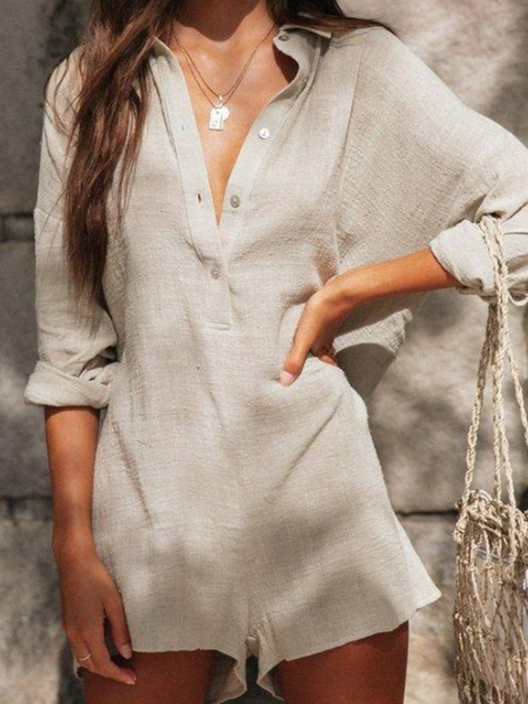Women Solid Buttoned Long Sleeve Jumpsuit