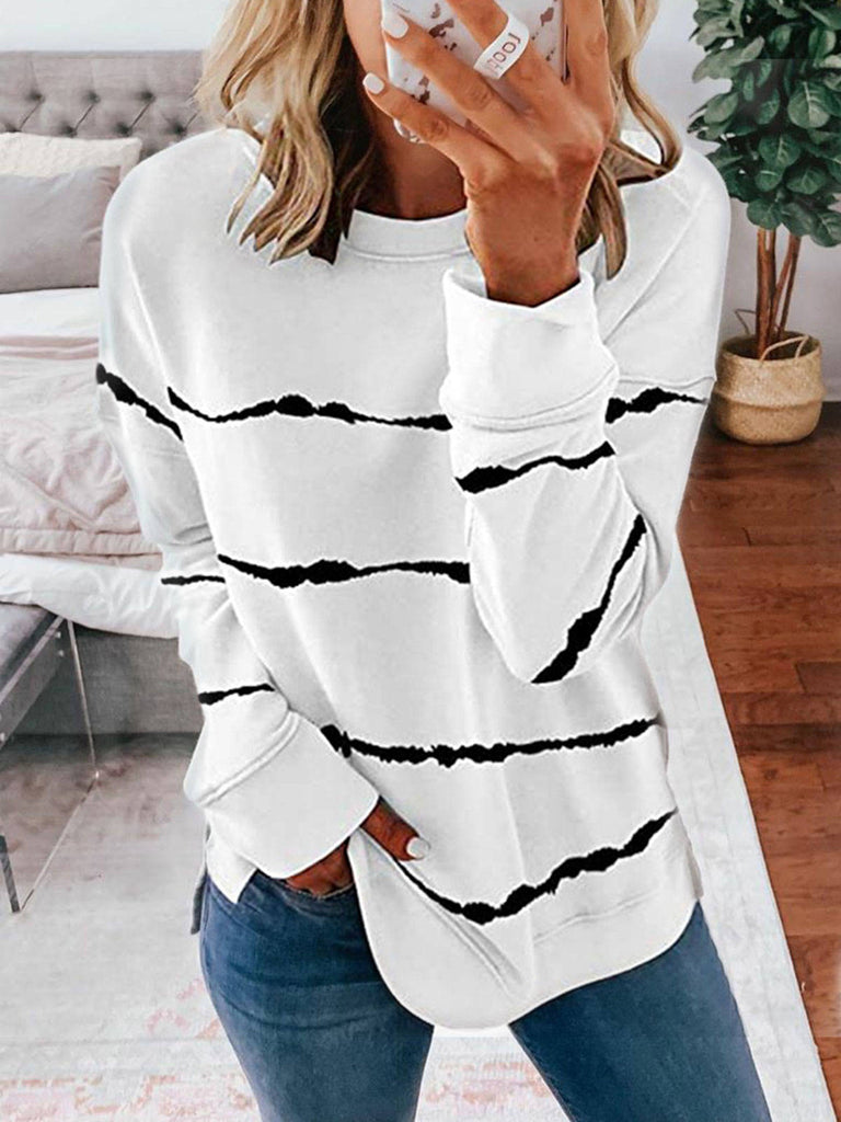 Women Stripes Dip-Dyed Print Crew Neck Long Sleeve Sweatshirts