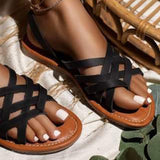 Women Simple Fashion Pu Cross-strap Slip On Flat Sandals