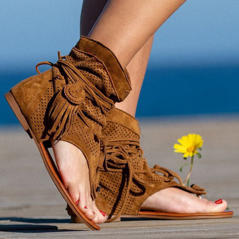 Women Casual Retro Artificial Suede Hollow-out Tassel Sandals