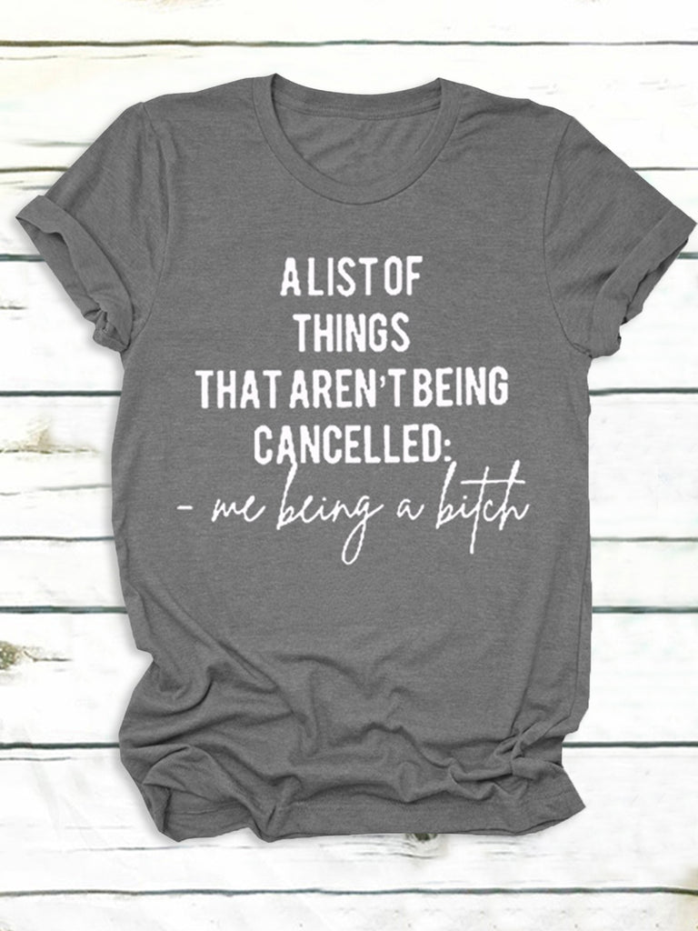 Alist Of Things Letter Simple Short Sleeve Women T-Shirts