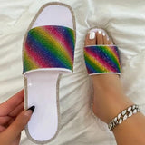Women Fashion Pu Color Diamond Flat Sandals Slippers