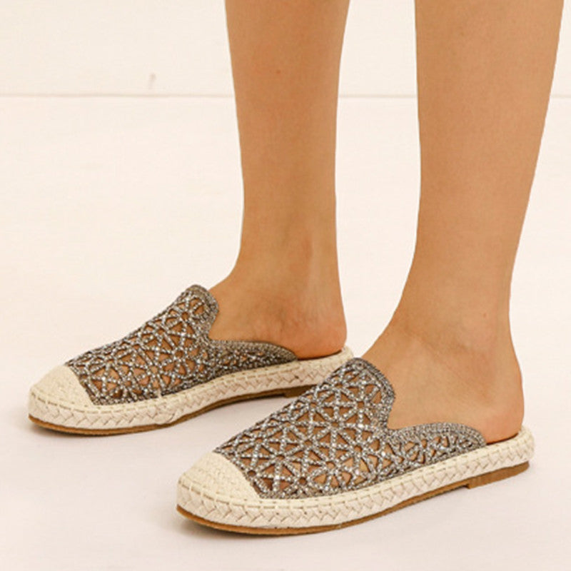 Women Casual Comfortable Artificial Leather Rhinestone Slip On Slippers