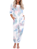 Women Casual Abstract Printed Camouflage Half Sleeve Tops&Pants Suits