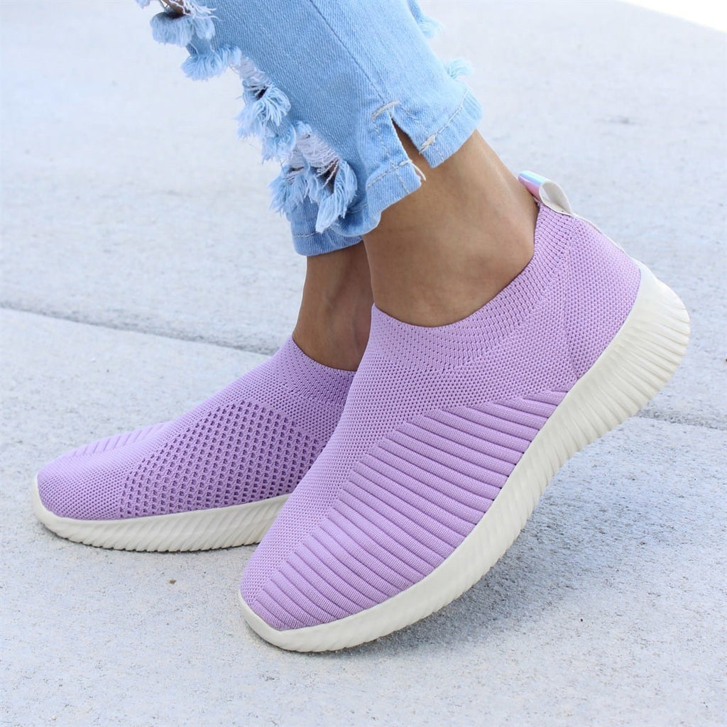 Breathable Jackeline Slip On Sneakers Fly-knit Fabric Athletic Sneakers-shoeri