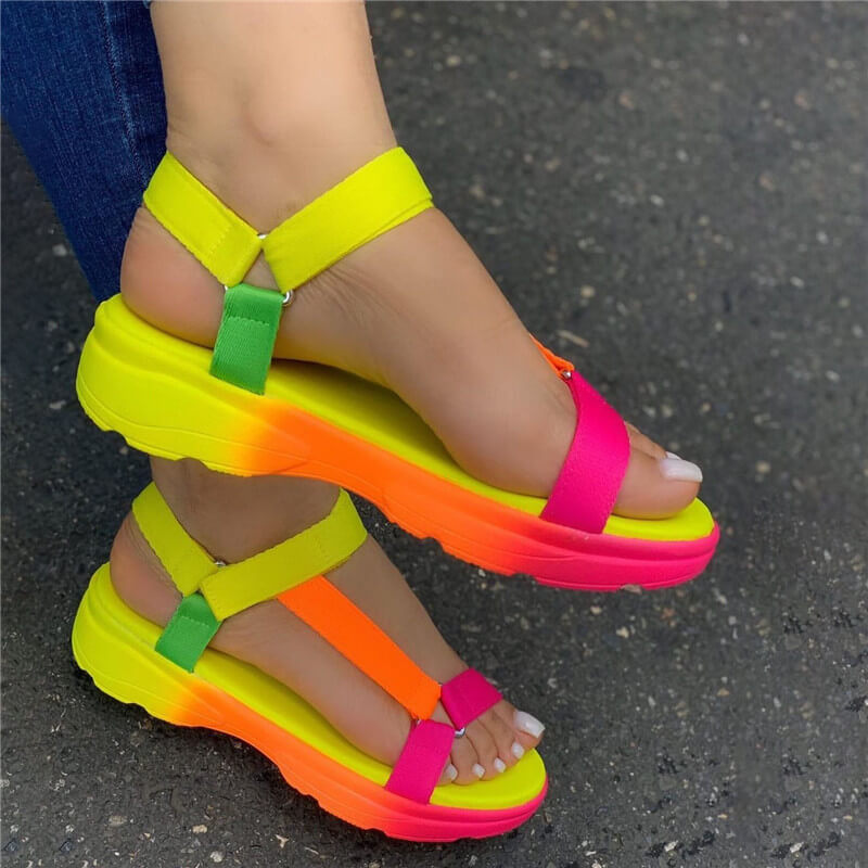 Women Simple Colorful Flat Heel Velcro Cross-strap Walking Platform Sandals