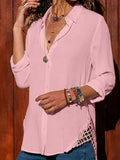 Women Solid Long Sleeve Shawl Collar Blouses