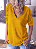 Women V Neck Cotton Long Sleeve Solid T-Shirts