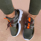 Women Casual Flyknit Fabric Hit Color Platform Sneakers