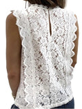 Women Solid Lace V Neck Sleeveless T-Shirts