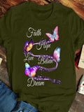 Butterfly Print Crew Neck Short Sleeve T-shirts