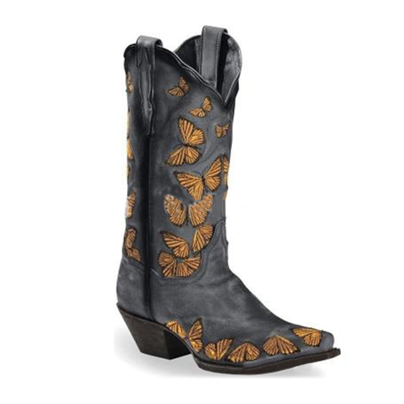 Women Butterfly Printed High Boots